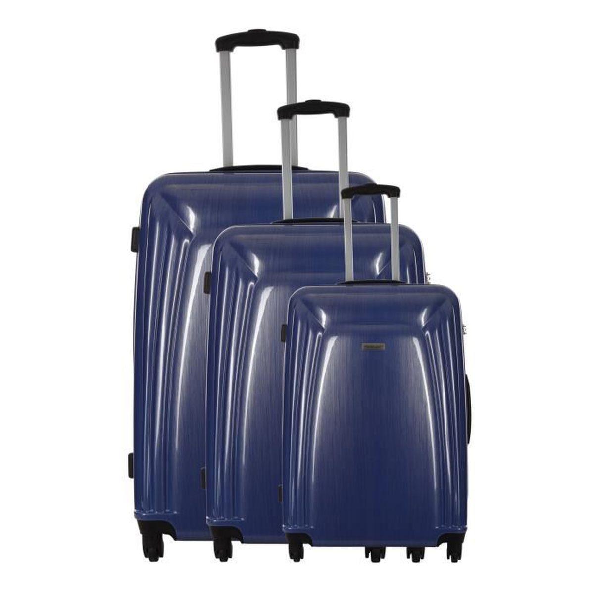 travel one set de 3 valises rigide polycarbonate rock 4 roues s m l barite bleu bleu achat. Black Bedroom Furniture Sets. Home Design Ideas