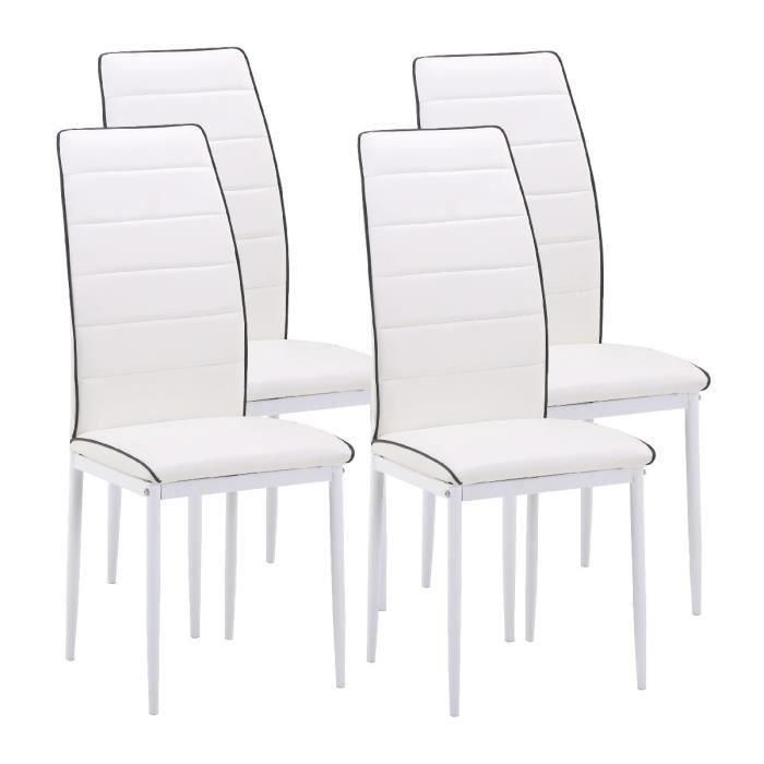 Tendance lot de 4 chaises de salle manger en simili for Lot 4 chaises salle manger