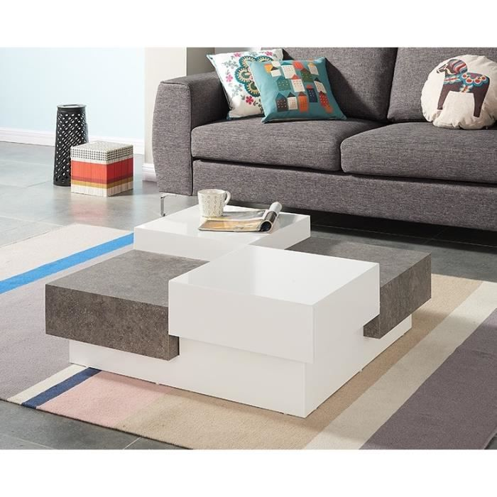 Bacalan table basse 90x90 cm blanc brillant et d cor - Table basse blanc brillant ...