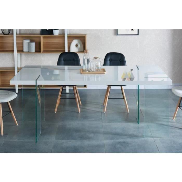 Crea table manger 190x95 cm laqu blanc brillant achat for Table de sejour blanc laque