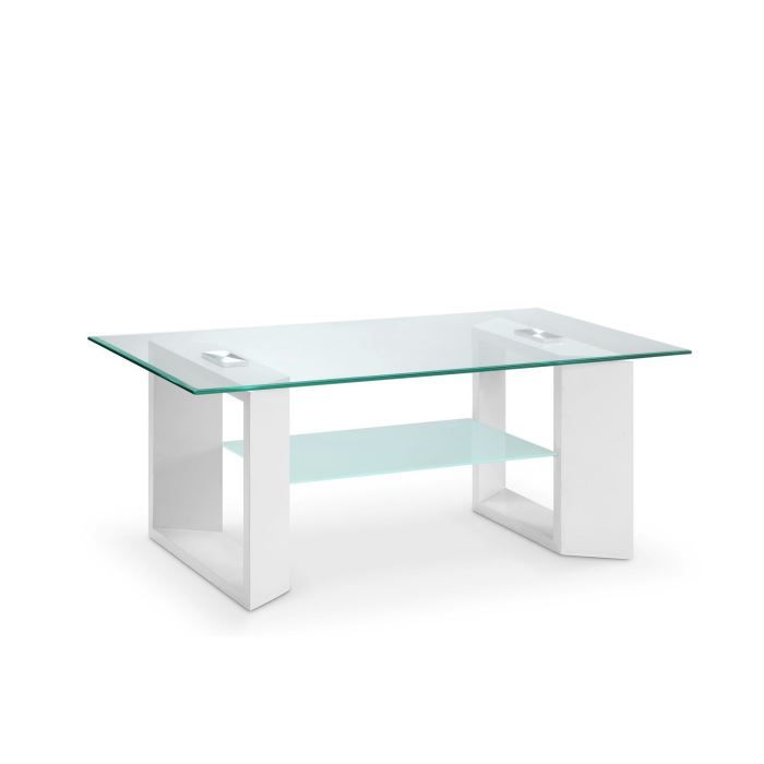Mara table basse 110x60cm verre et blanc achat vente table basse mara table basse verre for Table basse verre et blanc