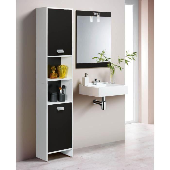 Tena colonne de salle de bain 2 portes blanc noir achat for Salle du bain