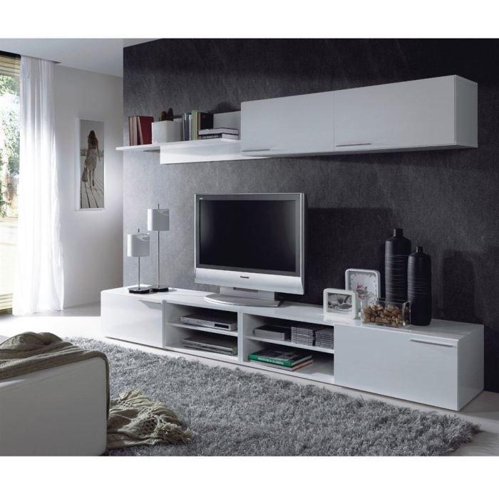 Kikua module haut pour s jour blanc brillant achat Sejour salon complet