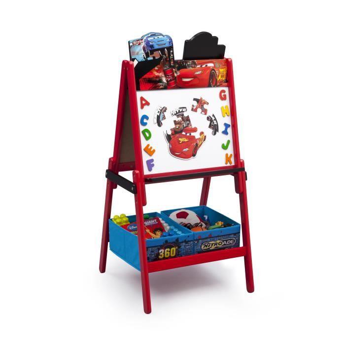 Cars tableau enfant chevalet en bois avec rangement - Table enfant avec rangement ...