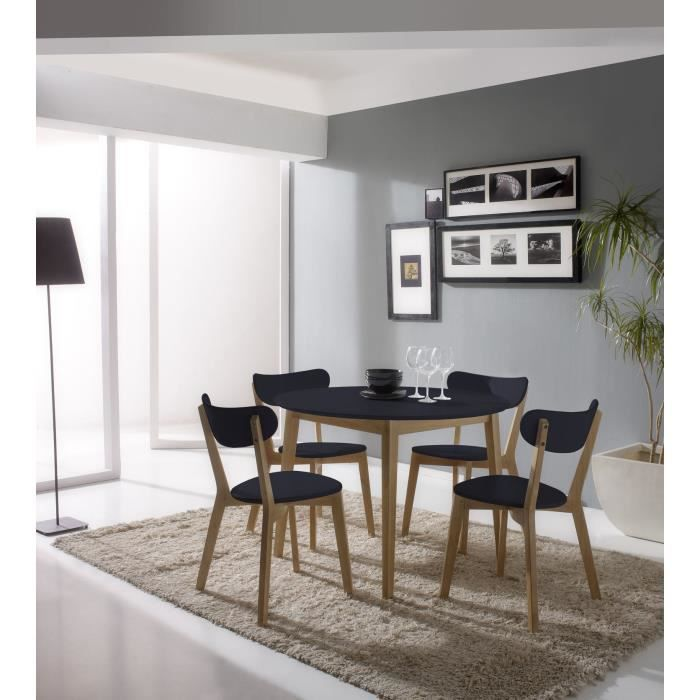 Carole table 4 chaises anthracite et bois massif achat - Table ronde 4 chaises ...