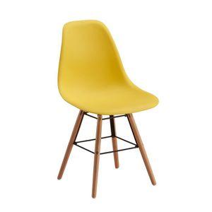 Chaises jaune achat vente chaises jaune pas cher cdiscount for Chaise de cuisine jaune