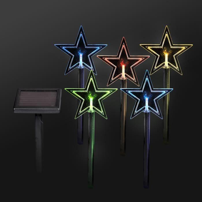 Codico set de 5 pics solaires toiles led hauteur 30 cm - Etoile lumineuse exterieure noel ...