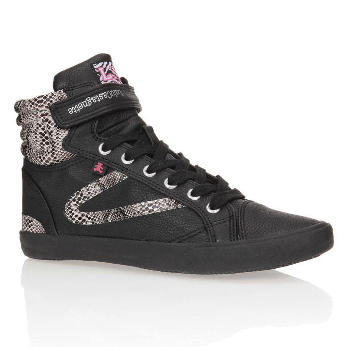lulu castagnette baskets montantes chaussures femme femme noir et gris achat vente lulu. Black Bedroom Furniture Sets. Home Design Ideas