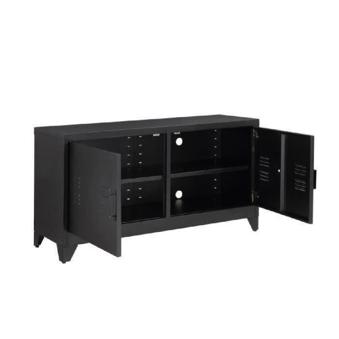 meuble tv metal et bois achat vente meuble tv metal et bois pas cher les soldes sur. Black Bedroom Furniture Sets. Home Design Ideas