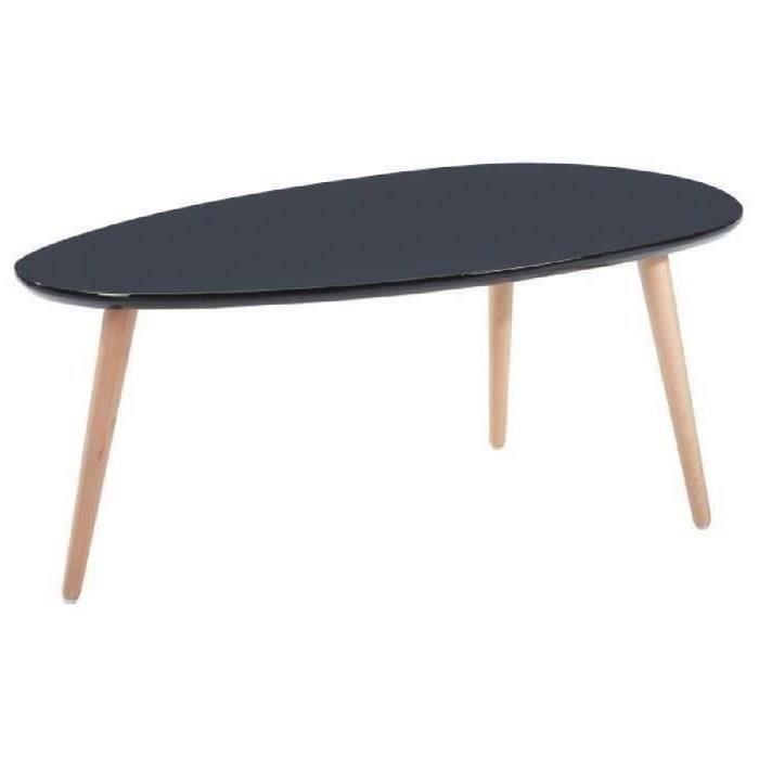 Stone Table Basse Scandinave 88x48 Cm Laqu E Noir Achat