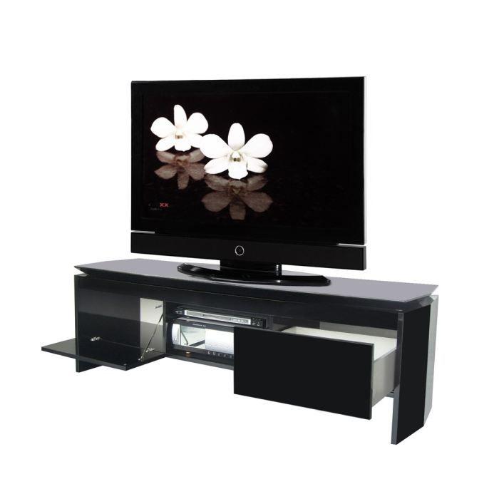 tempo meuble tv 160 cm noir achat vente meuble tv tempo meuble tv 160 cm bois panneaux de. Black Bedroom Furniture Sets. Home Design Ideas