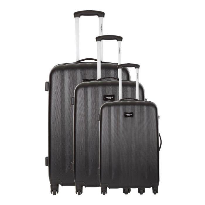torrente set de 3 valises rigide abs 4 roues 46 56 66 cm ouranos noir noir achat vente set. Black Bedroom Furniture Sets. Home Design Ideas