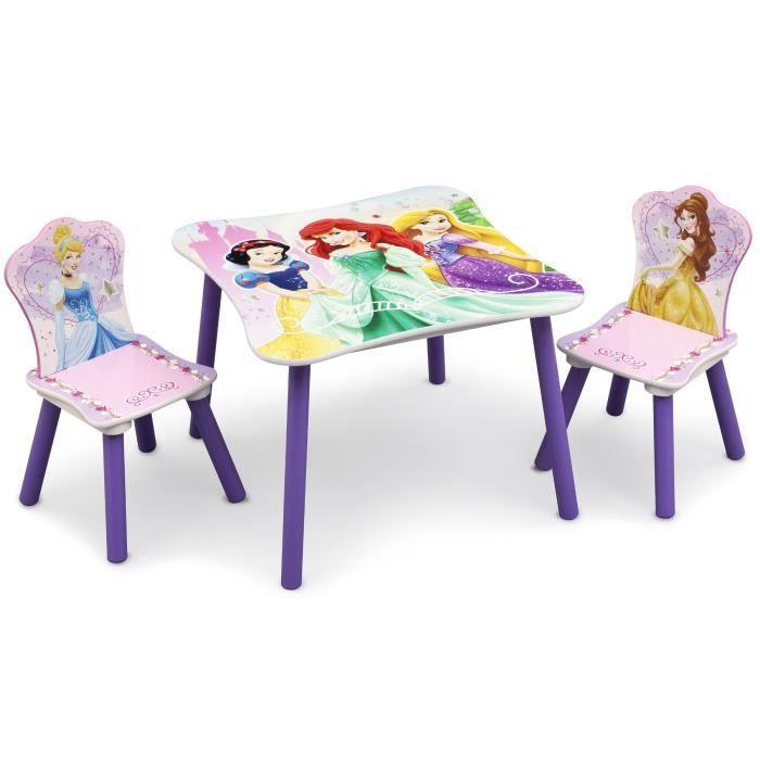Disney princesses table enfant et 2 chaises enfant en bois for Table chaise bois enfant