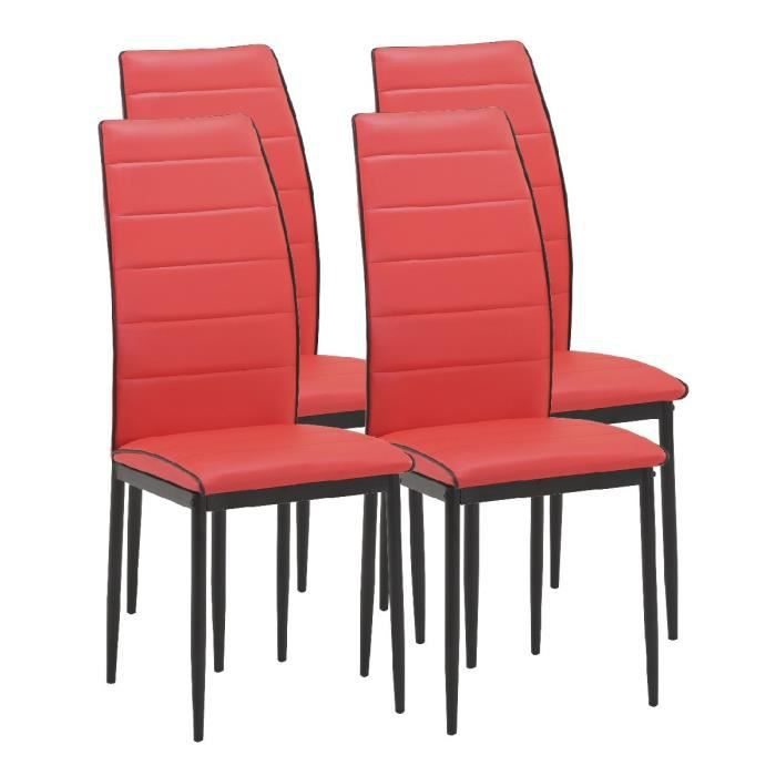 Tendance lot de 4 chaises de salle manger en simili for Chaise rouge salle a manger