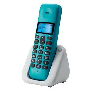 Téléphone fixe Motorola T301 Turquoise Solo Sans Fil