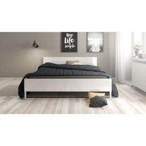 lit blanc laque 160 achat vente lit blanc laque 160 pas cher les soldes sur cdiscount. Black Bedroom Furniture Sets. Home Design Ideas