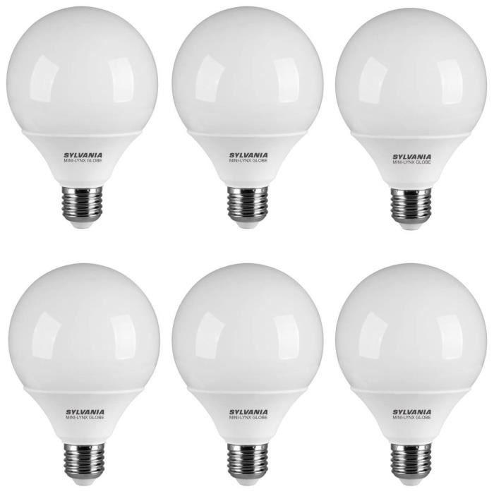 sylvania lot de 6 ampoules fluo compactes e27 20 w quivalent 120 w achat vente ampoule. Black Bedroom Furniture Sets. Home Design Ideas