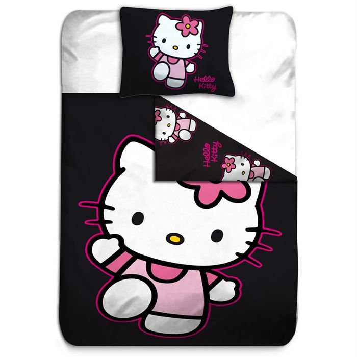 Housse de couette taie hello kitty noir achat vente - Hello kitty housse de couette ...