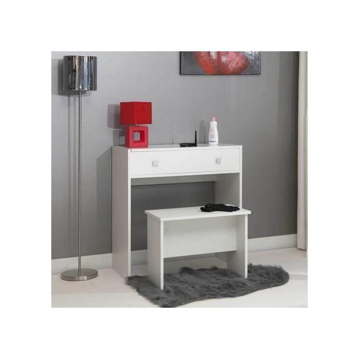 coiffeuse abattant avec miroir et banc blanc achat vente coiffeuse coiffeuse abattant avec. Black Bedroom Furniture Sets. Home Design Ideas