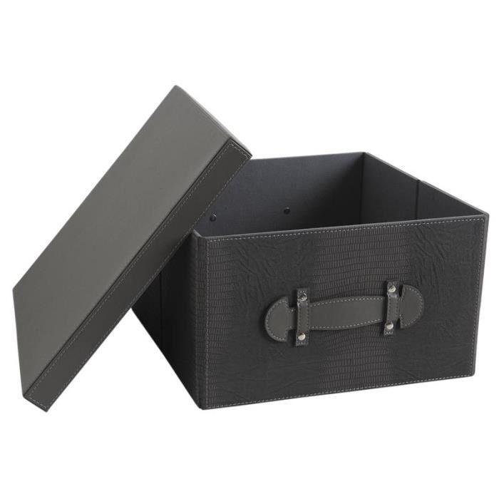 boite de rangement pliable en simili cuir gris achat vente boite de rangement cdiscount. Black Bedroom Furniture Sets. Home Design Ideas