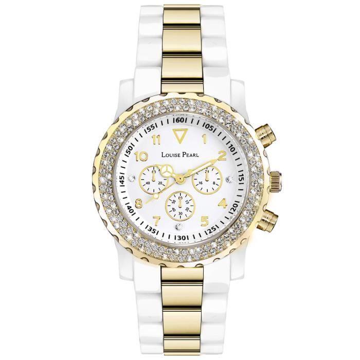 montre femme chrono cristaux swarovski blanc dor louise pearl 12 achat vente montre montre. Black Bedroom Furniture Sets. Home Design Ideas