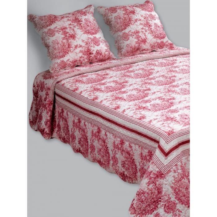 Couvre lit boutis 2 places fragonard rouge achat vente jet e de lit bou - Linge de lit bouchara ...