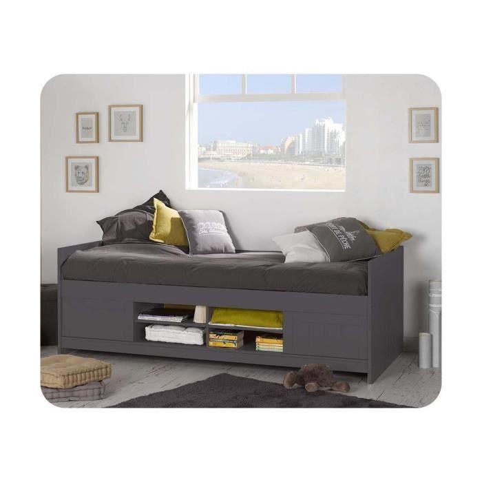 lit enfant opal 90x200 cm gris anthracite achat vente structure de lit lit enfant opal. Black Bedroom Furniture Sets. Home Design Ideas