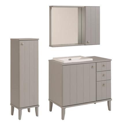 Ensemble miroir vasque meuble sous vasque colonne coloris gris achat - Meuble vasque colonne ...