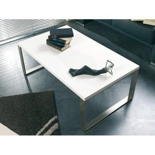 haku m bel 87320 table basse tube d 39 acier optique inox blanc achat vente table basse haku. Black Bedroom Furniture Sets. Home Design Ideas