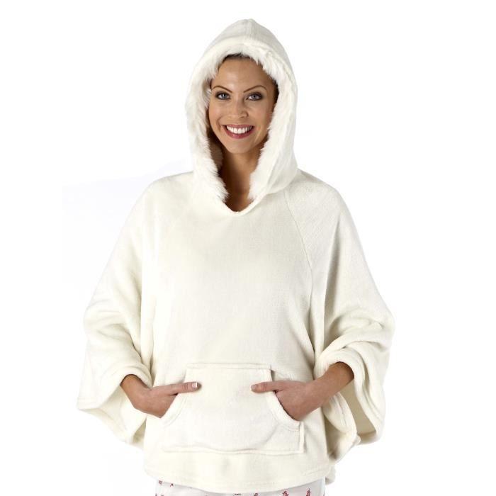 sameira 172 poncho 224 capuche en polaire luxe femme achat vente chemise de nuit