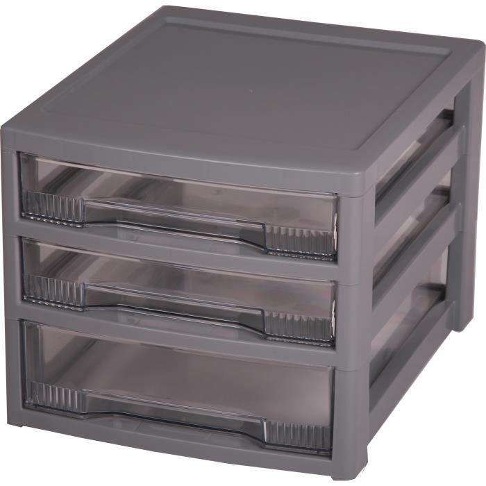 Tours de rangement trois tiroirs tour de rangement gris for Commode rangement bureau