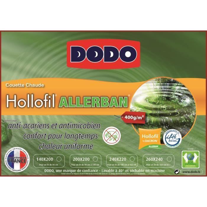 dodo couette hollofil allerban 400g 200x200cm achat vente couette soldes d hiver d s le 6. Black Bedroom Furniture Sets. Home Design Ideas