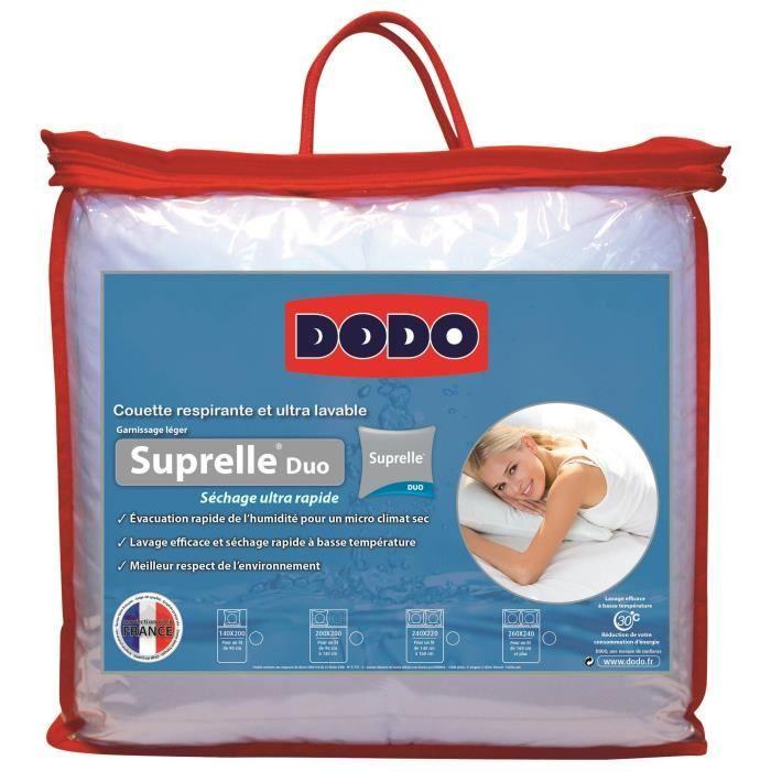 dodo couette chaude 400 gr m suprelle duo 200x200 cm blanc achat vente couette soldes d. Black Bedroom Furniture Sets. Home Design Ideas