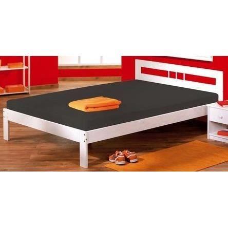 lit 2 places design en pin massif fana blanc achat vente structure de lit cdiscount. Black Bedroom Furniture Sets. Home Design Ideas