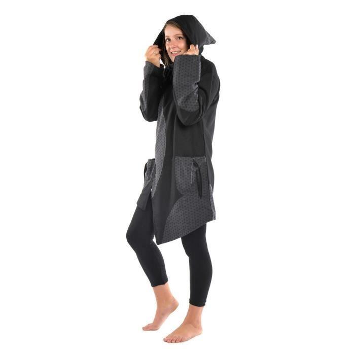 noir gris grand froid Dayang Manteau ethnique noire gris grand froid