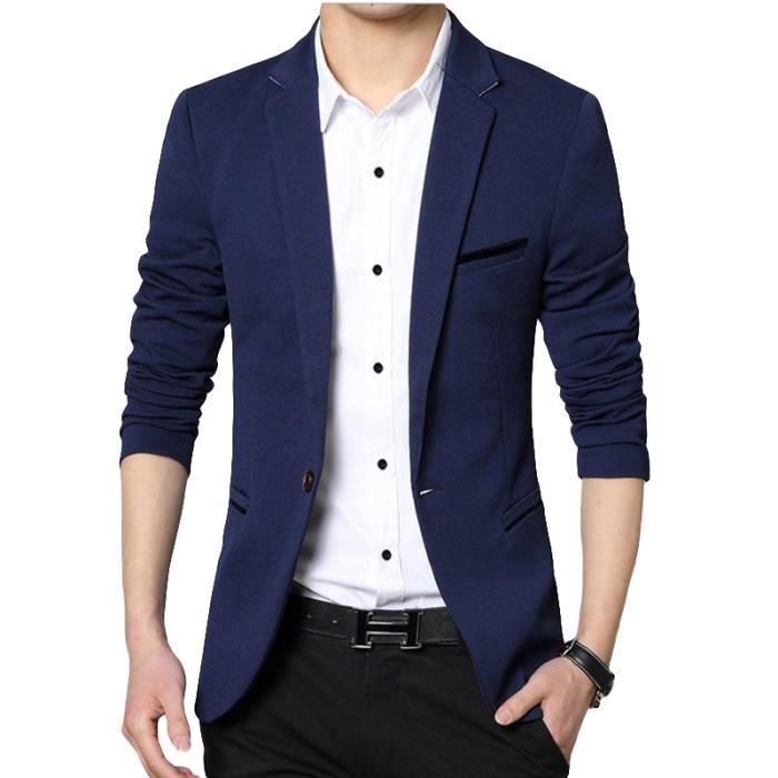 blazer homme en slim couleur unie masculine bleu marin achat vente veste cdiscount. Black Bedroom Furniture Sets. Home Design Ideas