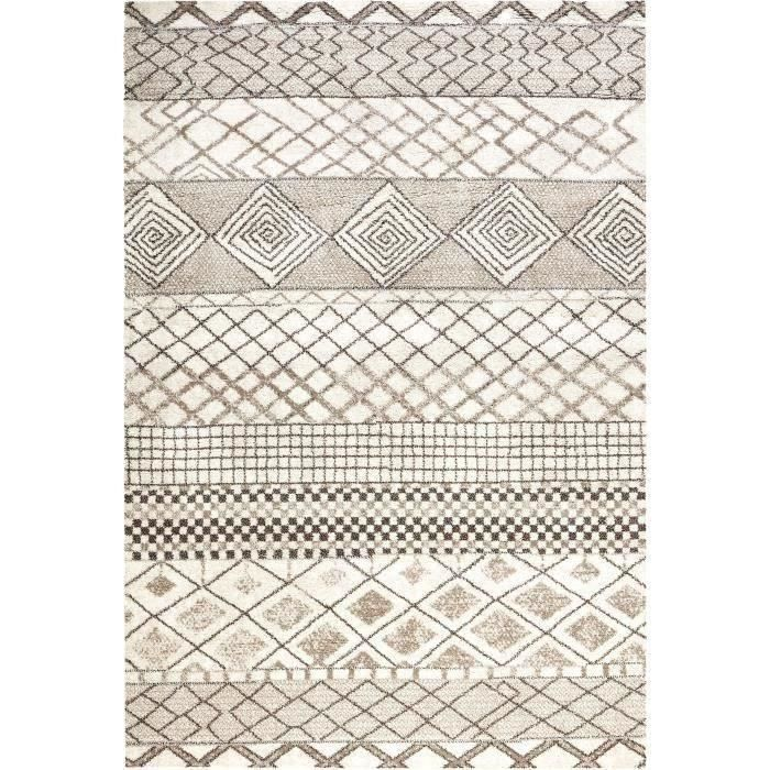 Signatures tapis de salon 135x200 cm gris et beige achat for Tapis de salon gris et beige