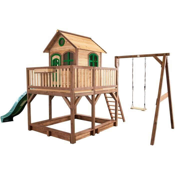 axi maisonnette enfant cabane en bois 2 en 1 liam avec une balan oire achat vente. Black Bedroom Furniture Sets. Home Design Ideas