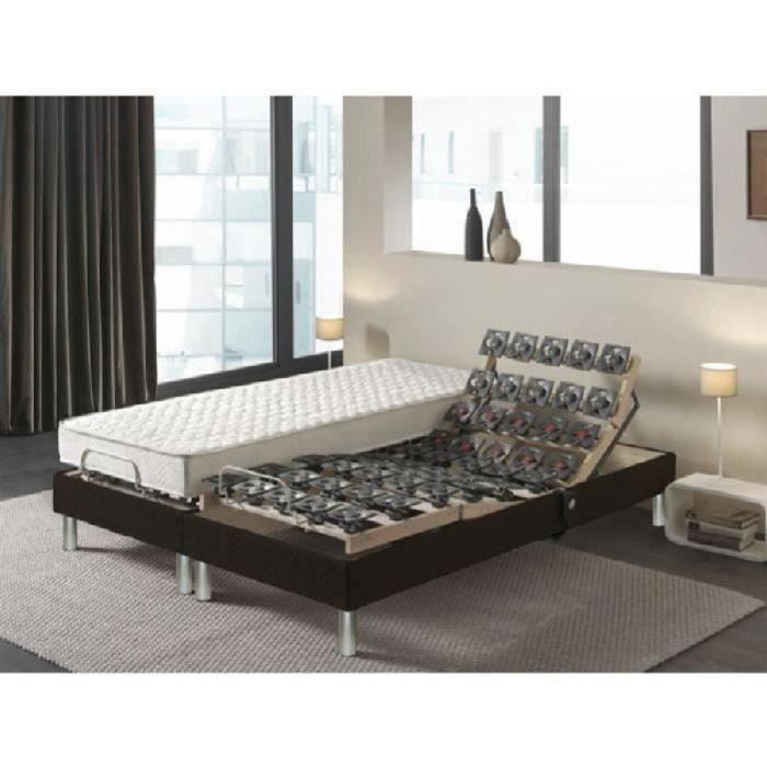 dormaflex ensemble matelas sommiers 2x80x200 16cm mousse haute r silience quilibr 35kg m. Black Bedroom Furniture Sets. Home Design Ideas