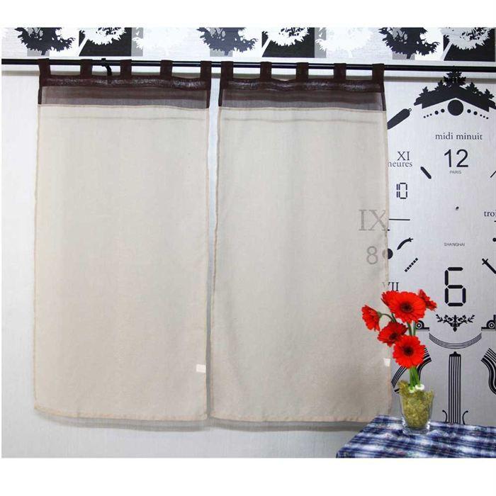 paire de voilage ecru achat vente rideau 100 polyester cdiscount. Black Bedroom Furniture Sets. Home Design Ideas
