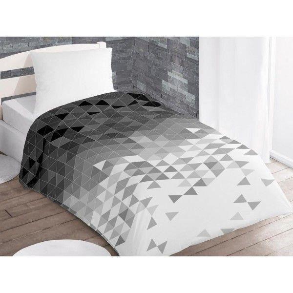 couette 140x200 cm imprim e 400g m2 try gris achat. Black Bedroom Furniture Sets. Home Design Ideas