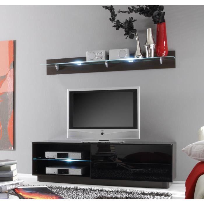 Meuble tv lumineux weng et noir laqu design cami achat vente meuble tv - Meuble tv design wenge ...