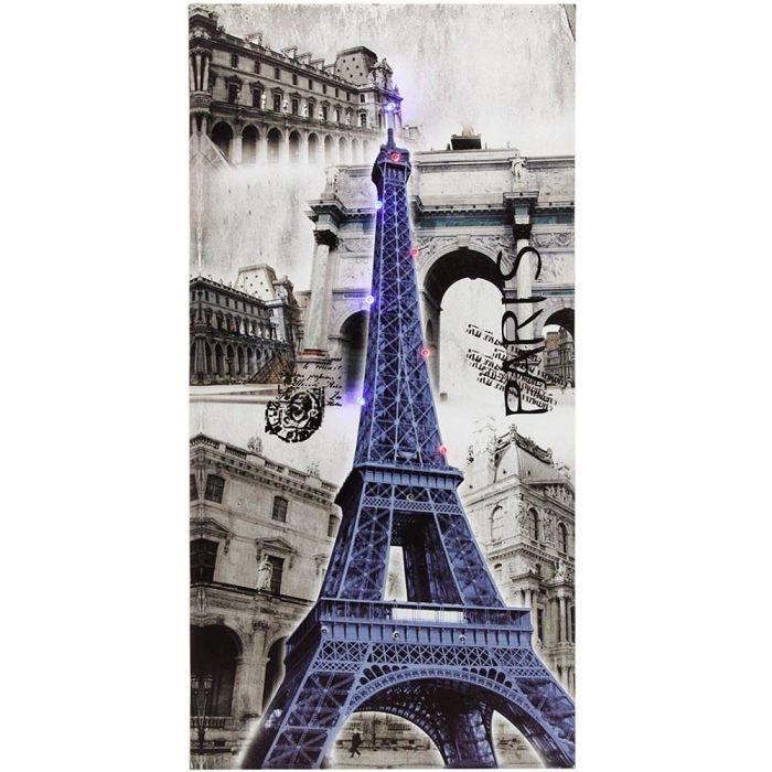 tableau toile 12 led deco paris city tour eiffe achat. Black Bedroom Furniture Sets. Home Design Ideas