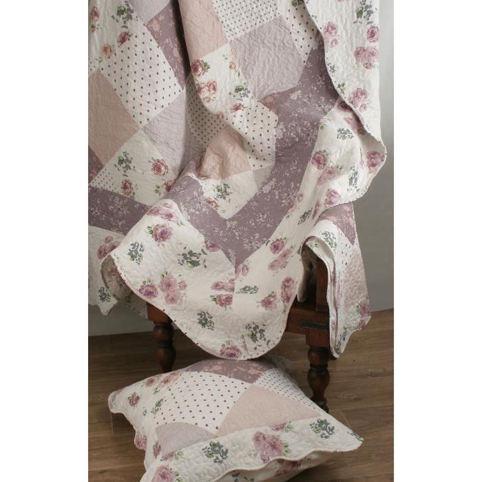 couvre lit boutis 230x250 2 taies 63x63 cm motif plac patchwork fleurs et pois ecru et. Black Bedroom Furniture Sets. Home Design Ideas
