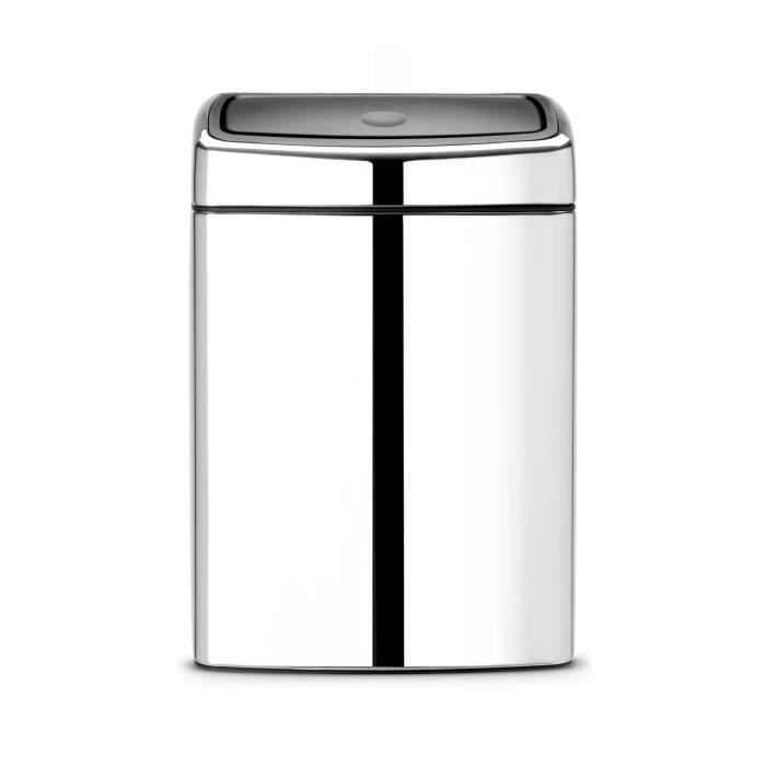 poubelle brabantia touch bin 10 l acier poli achat vente poubelle corbeille poubelle. Black Bedroom Furniture Sets. Home Design Ideas