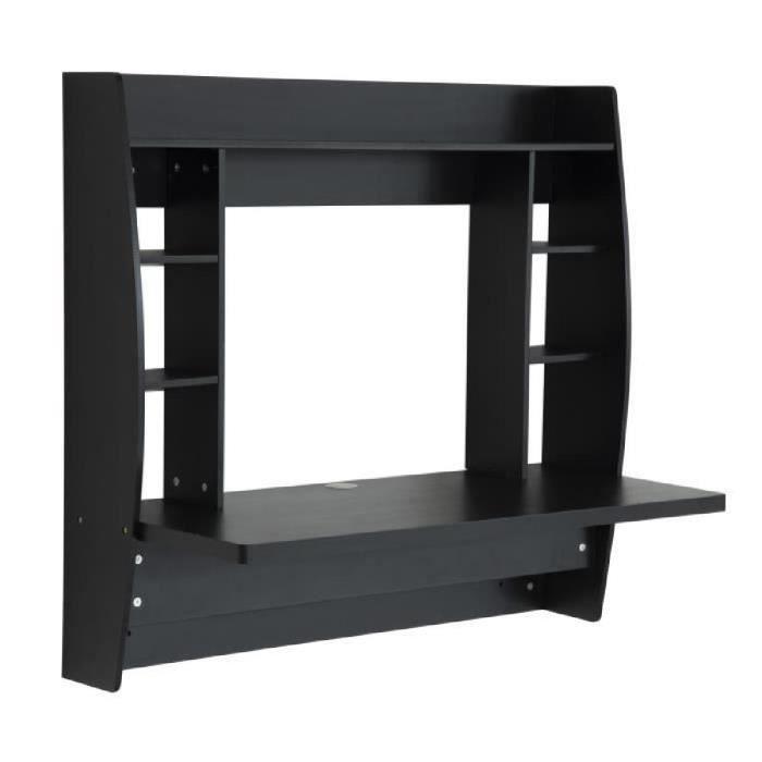 Table murale pratique armoire de rangement en mdf noir for Meuble bureau mural