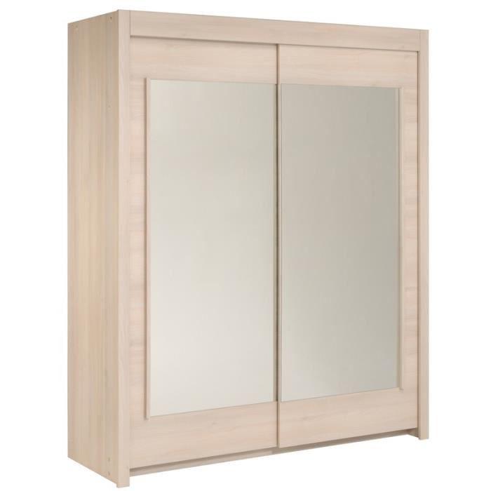 armoire 2 portes coulissantes 180 cm acacia clair nity achat vente armoire de chambre. Black Bedroom Furniture Sets. Home Design Ideas