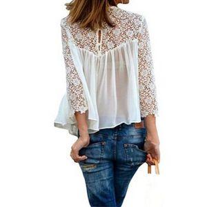 T-SHIRT Femme Blouse Dentelle Chemisier Top Haut shirt ...