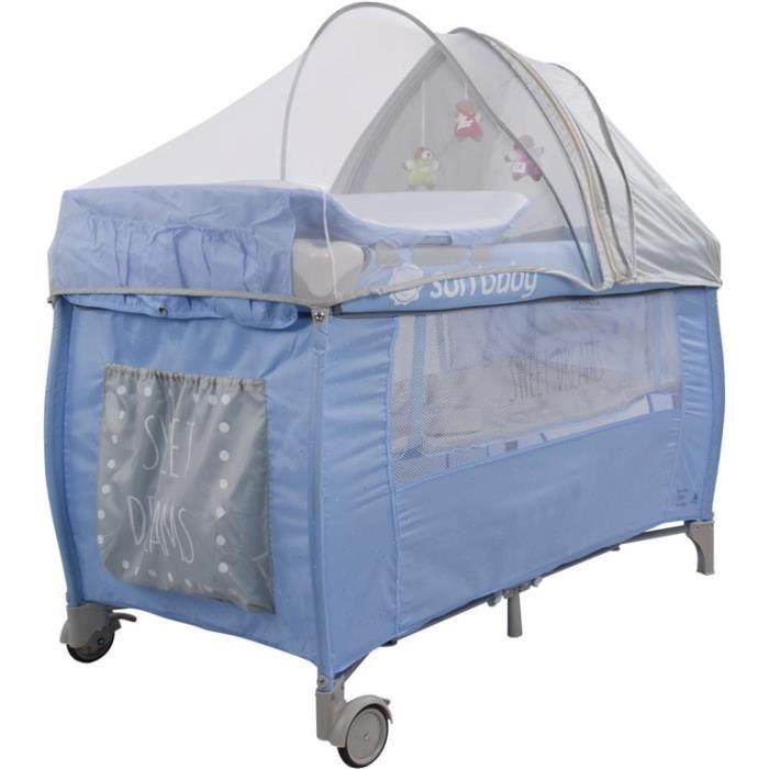super lit voyage moustiq boxs rangt t langer mat bleu achat vente lit pliant. Black Bedroom Furniture Sets. Home Design Ideas
