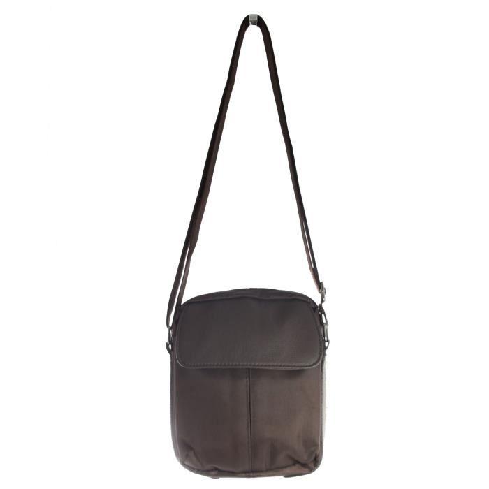 petit sac bandouli re homme marron marron achat. Black Bedroom Furniture Sets. Home Design Ideas